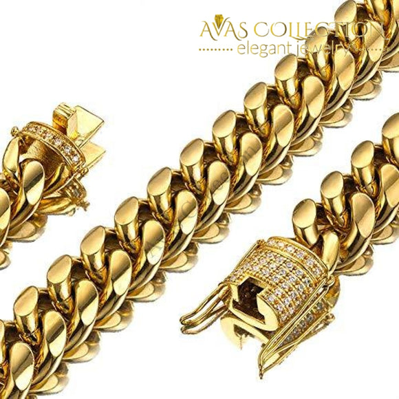 Mens Miami Cuban Link Chain 18K Gold 15Mm Stainless Steel Curb Necklace With Cz Diamond Choker (24)