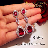 Luxury Rose Red Stone Earrings Collection Drop