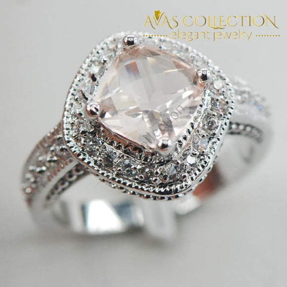 Simulated Morganite 925 Ring - Avas Collection
