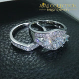 Three-Stone White Gold Filled Engagement Set Rings