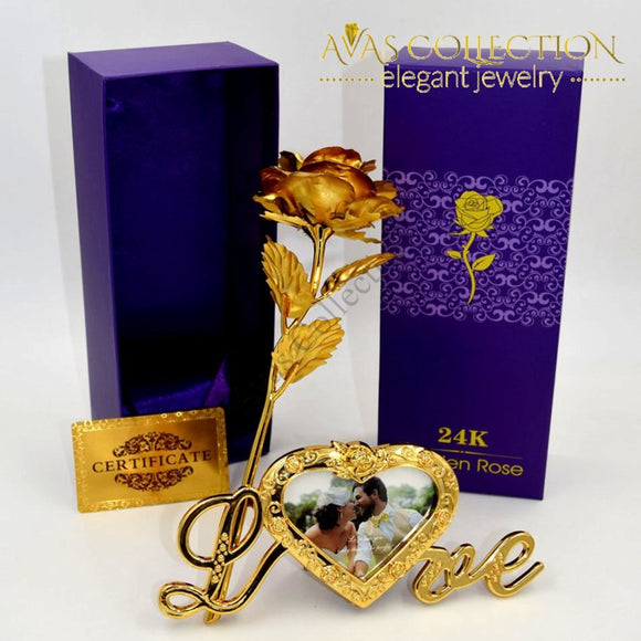24K Gold Rose With Love Stand Frame Artificial & Dried Flowers