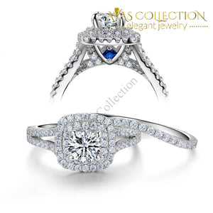 2 Pcs Blue Side Stones Wedding Set Rings