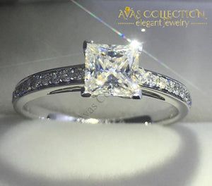 Princess Cut 1Ct Engagement Ring Rings