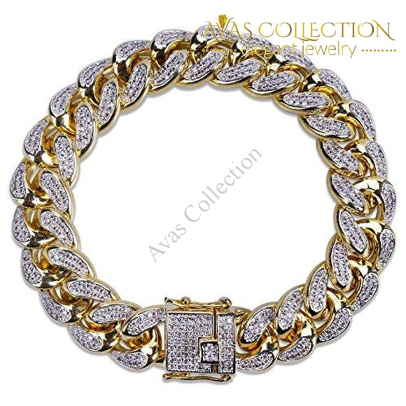 14Mm 14K Gold Hip Hop Iced Out Cz Lab Diamond Miami Cuban Link Chain Bracelet For Men 7
