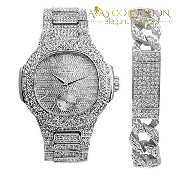 Cuban Iced Out Id Silver Bracelet With Luxurious Oblong Hip Hop Watch