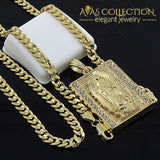 Mens Hip-Hop Iced Block Virgin Mary Pendant 5Mm 24 Cuban Chain Necklace
