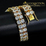 2 Rows Aaa Gold Silver Iced Out Tennis Bling Lab Simulated Diamond Bracelet 8 (Gold):