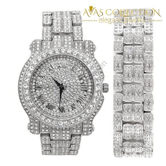 Bling-Ed Out Round Luxury Mens Watch W/bling-Ed Matching Bracelet - L0504B Silver