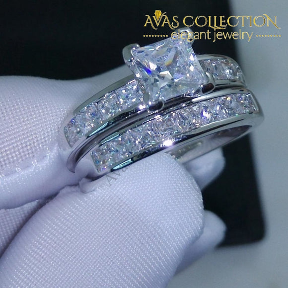 10Kt White Gold Filled Wedding Ring Set Rings