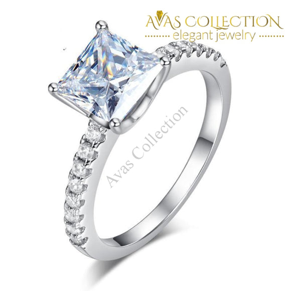1.5 Ct Princess Cut Micropave 925 Sterling Silver  Engagement /Promise Ring/ High Polished - Avas Collection
