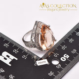 Huge Simulated  Morganite Silver Ring - Avas Collection