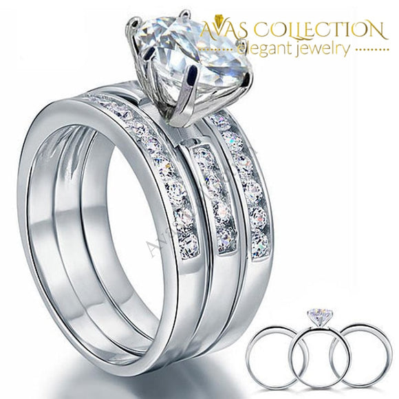 2 Carat Round Cut Solid Sterling 925 Silver 3-Pcs set - Avas Collection