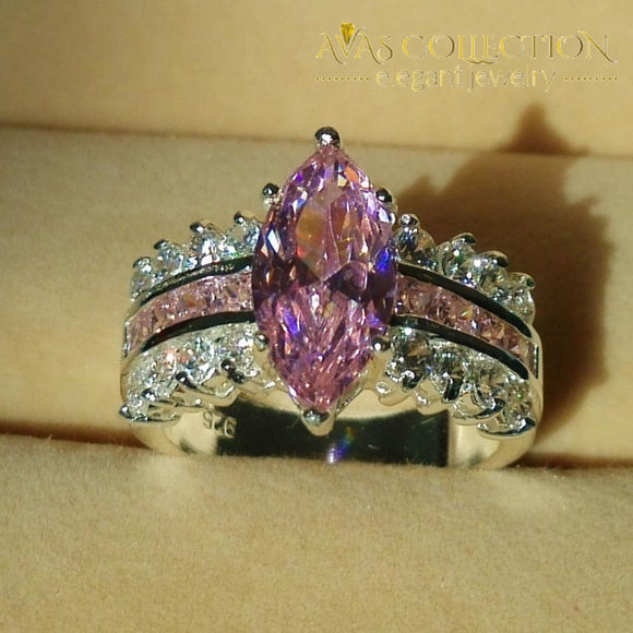 Marquise Cut Pink Stone Rings