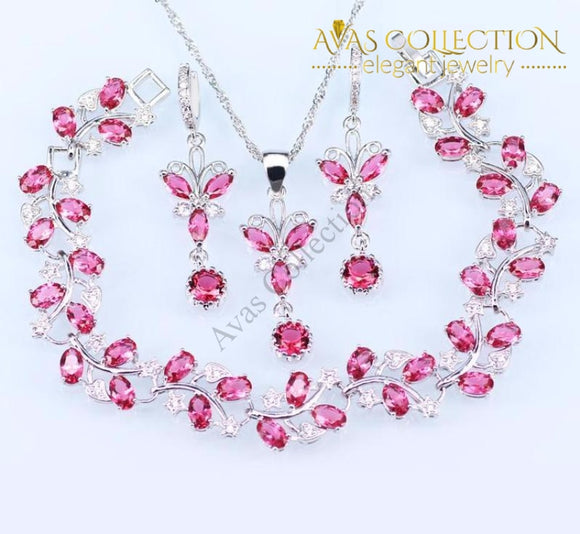 925 Silver Jewelry Set - Pink Jewelry Sets