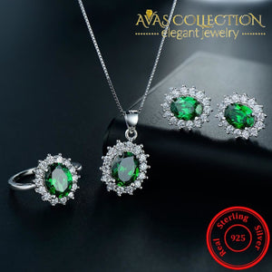 Green Silver Filled Jewelry Set Sets