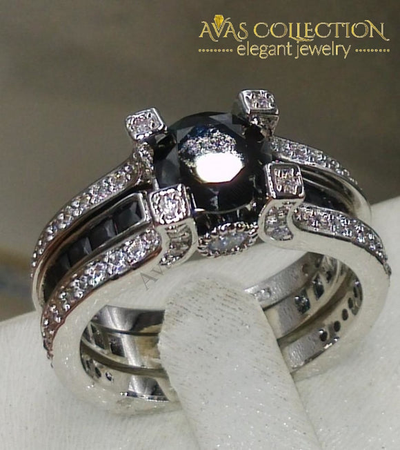 Round Black Wedding Ring Rings