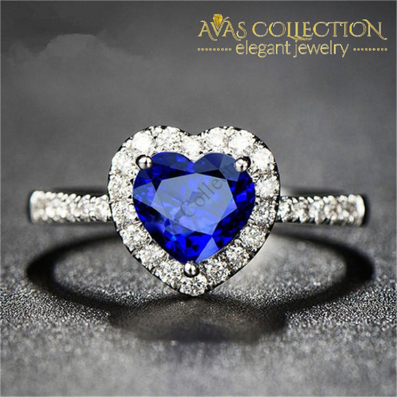 Ocean Blue Heart Ring Rings