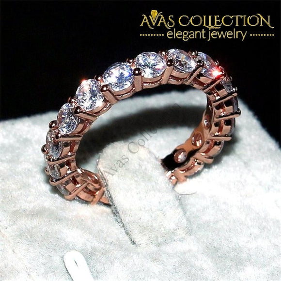 Silver & Rose Gold Finish Eternity Band Rings