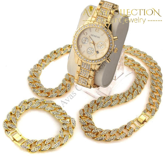 3 Pcs / 24 Iced Out Cuban Stone Chain/ Bracelet/ Watch Set Jewelry Sets