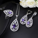 Elegant 3 Piece Necklace Earring Ring Set Jewelry Sets