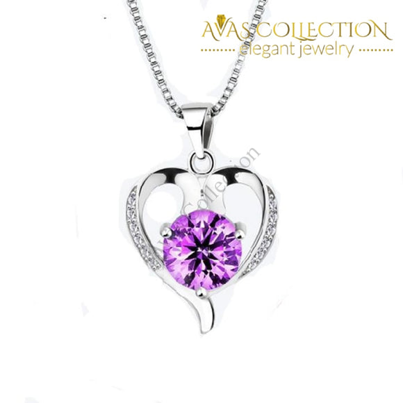 Heart Shape Purple/White Necklace - Avas Collection