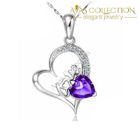 Purple Crystal Heart Pendant Necklace 925 Sterling Silver Necklaces