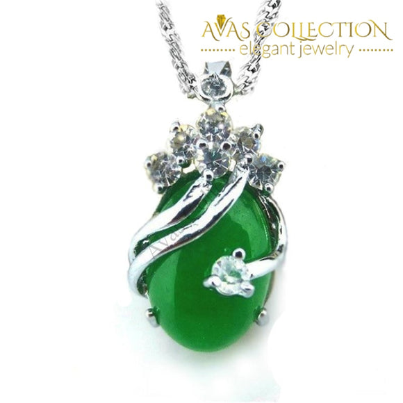 Natural Malay Stone Green Gem Crystal 925 Sterling Silver Pendant Necklace - Avas Collection