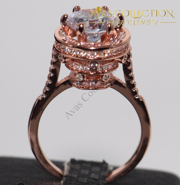 Luxury 4Ct Rose Gold Ring Rings