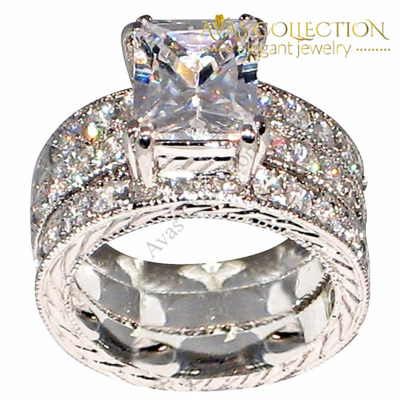 4 Ct Princess Cut 3 In 1 Band Ring Set Rings