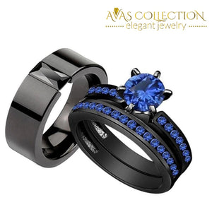 Round Cut Couples Set - 10Kt Black Gold Filled Rings