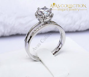 1 Carat Round Brilliant Engagement Double Ring Set Rings