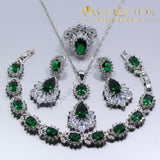 925 Sterling Silver Green Created Emerald Women 4PCS Jewelry Set - Avas Collection