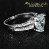 Solid 925 Sterling Silver Ring Finger Heart Shape Stone Ring - Avas Collection