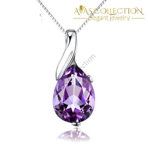 925 Sterling Silver Purple Drop Stone Pendant Necklace - Avas Collection