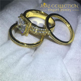 3-In-1 Ring Princess Yellow Gold Filled Wedding Band Ring Rings