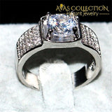 Mens 8*8Mm 3Ct Ring ( Black Rose Gold Or Silver) Rings