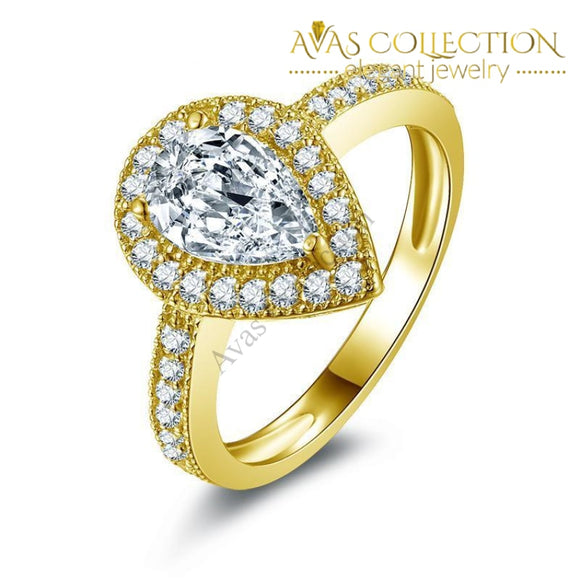 10k Solid Yellow Gold 1.5 ct  Pear Cut - Avas Collection