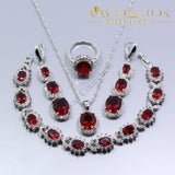 925 Silver Simulated Ruby 4PCS Wedding Jewelry Set - Avas Collection