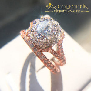 New Standard Rose Gold Filled Engagement Ring Set Women Rings