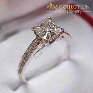 Princess 1Ct Promise/ Engagement Ring Synthetic Diamonds Wedding Bands