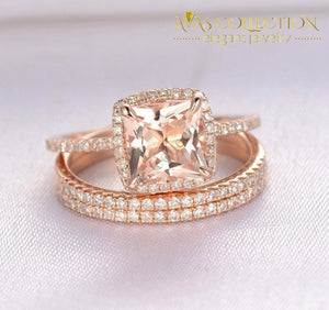 10KT Rose Gold Filled Princess Cut/ 3 pcs - Avas Collection