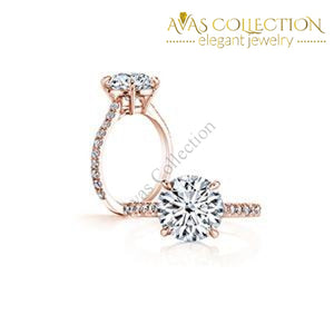 Four Prong 3 Ct Round Brilliant Cut Engagement Ring Rings