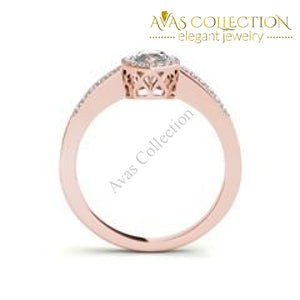 Marquise Cut 1 Ct Halo Style Engagement Ring Rose/white/ Yellow Gold Finish Rings
