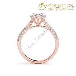 Micro Pave Halo Marquise 1 Ct Engagement Ring White/rose /yellow Gold Finish Rings