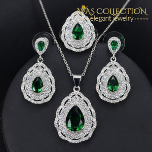 Dazzling Pear Drop 3 Piece Jewelry Set Blue / 7 Sets