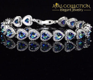 Mystic Light Blue Crystal Love / Avas Collection Bracelet Chain & Link Bracelets