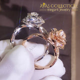 Unique Luxury Jewelry White R&rose Gold Fill Promise Ring Simulated Diamonds Wedding Bands