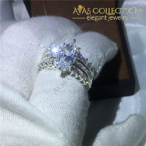 Classic Marquise Cut  5ct/ 10k White Gold Filled Ring - Avas Collection