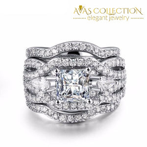 Classic Princess Cut 3 Pcs Wedding Ring Set Rings