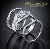 14kt White&Gold Filled Princess Cut 3 in 1 Wedding Ring - Avas Collection